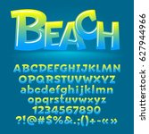 vector beach glossy letters ... | Shutterstock .eps vector #627944966