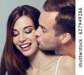 portrait of young happy couple  ... | Shutterstock . vector #627949286