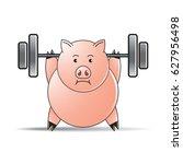 pink color pig cartoon... | Shutterstock .eps vector #627956498