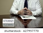 businessman at desk with papers ... | Shutterstock . vector #627957770