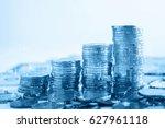 double exposure of stack of... | Shutterstock . vector #627961118