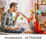 funny time  father and his... | Shutterstock . vector #627965468
