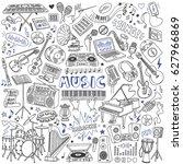 music doodles set. musical...   Shutterstock .eps vector #627966869