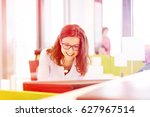 smiling young businesswoman... | Shutterstock . vector #627967514