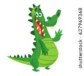 cute crocodile or dinosaur... | Shutterstock .eps vector #627969368
