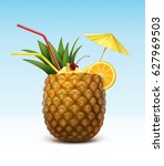 vector pineapple cocktail... | Shutterstock .eps vector #627969503