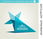 vector turquoise award logotype | Shutterstock .eps vector #627971120