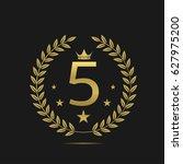 five stars label. golden laurel ... | Shutterstock .eps vector #627975200