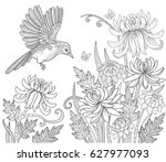 bird and flowers and butterfly...   Shutterstock .eps vector #627977093