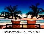 bed on the beach for romantic... | Shutterstock . vector #627977150