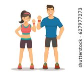 sport gym fitness couple.... | Shutterstock .eps vector #627977273