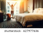 Stock photo happy backpacker traveller stay in high quality hotel 627977636
