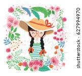 cute girl illustrations among...   Shutterstock .eps vector #627994970