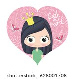 cute girl vector.children... | Shutterstock .eps vector #628001708