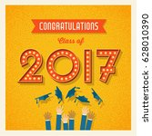 retro 2017 graduation card or... | Shutterstock .eps vector #628010390