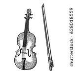 Violin With Bow. Vector Vintage ...