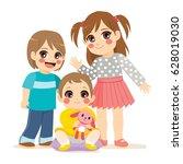 illustration of siblings family ... | Shutterstock .eps vector #628019030
