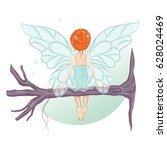 the cute little fairy sat down... | Shutterstock .eps vector #628024469