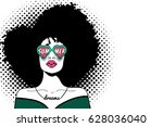 pop art face. sexy fashion... | Shutterstock .eps vector #628036040