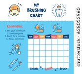 teeth brushing incentive chart. ... | Shutterstock .eps vector #628052960
