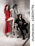 man and woman in metal room | Shutterstock . vector #628054796
