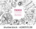 french cuisine top view frame.... | Shutterstock .eps vector #628055138