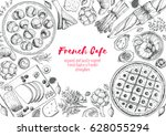 french cuisine top view frame.... | Shutterstock .eps vector #628055294