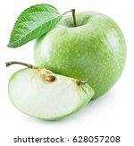 ripe green apples on the white... | Shutterstock . vector #628057208