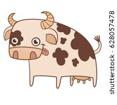 Smiling Cow Flat Vector