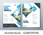 Flyer design. Corporate business report cover, brochure or flyer design. Leaflet presentation. Teal Flyer with abstract circle, round shapes background. Modern poster magazine, layout, template. A4. | Shutterstock vector #628059548