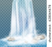 realistic vector waterfall with ... | Shutterstock .eps vector #628064678