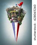 france  landmarks paris in the... | Shutterstock . vector #628065260