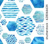 abstract textured hexagon... | Shutterstock . vector #628066634