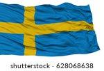 isolated sweden flag  waving on ... | Shutterstock . vector #628068638