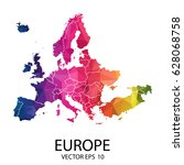 abstract polygon map   vector... | Shutterstock .eps vector #628068758