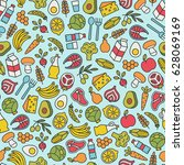 seamless pattern with healthy... | Shutterstock .eps vector #628069169