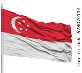 singapore flag on flagpole  ... | Shutterstock . vector #628070114