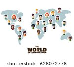 set of social multi ethnic... | Shutterstock .eps vector #628072778