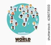 set of social multi ethnic... | Shutterstock .eps vector #628073033