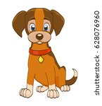 cartoon puppy dog with collar... | Shutterstock .eps vector #628076960