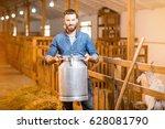 portrait of a handsome farmer... | Shutterstock . vector #628081790