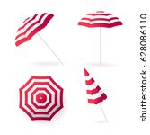 beach sun umbrellas collection. ... | Shutterstock .eps vector #628086110