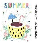 hello summer poster with...   Shutterstock .eps vector #628086503
