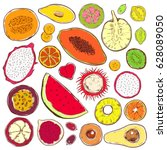 hand drawn colored exotic... | Shutterstock .eps vector #628089050