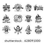 set of vector black fast food... | Shutterstock .eps vector #628091000