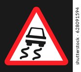 slippery road sign flat icon ... | Shutterstock .eps vector #628091594