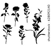 set of silhouettes of flowers ... | Shutterstock .eps vector #628092140