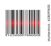 barcode with red laser scan  | Shutterstock .eps vector #628095830