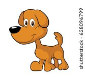 little cute brown cartoon dog... | Shutterstock .eps vector #628096799