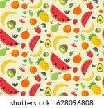 pattern of doodle flat summer... | Shutterstock .eps vector #628096808